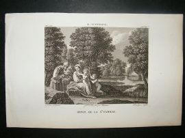 After B. Schedone C1810 Antique Print. Repos De La Ste. Famille